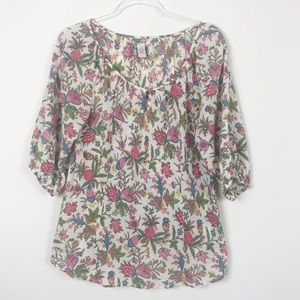 Lucky Brand Vintage 90s Floral Peasant Blouse M